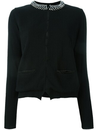 cardigan women embellished black wool sweater