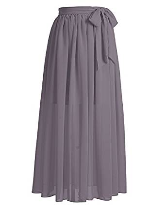 Dresstells Women's Long Chiffon Bow Tie Maxi Long Skirt Vintage Dress at Amazon Women's Clothing store: