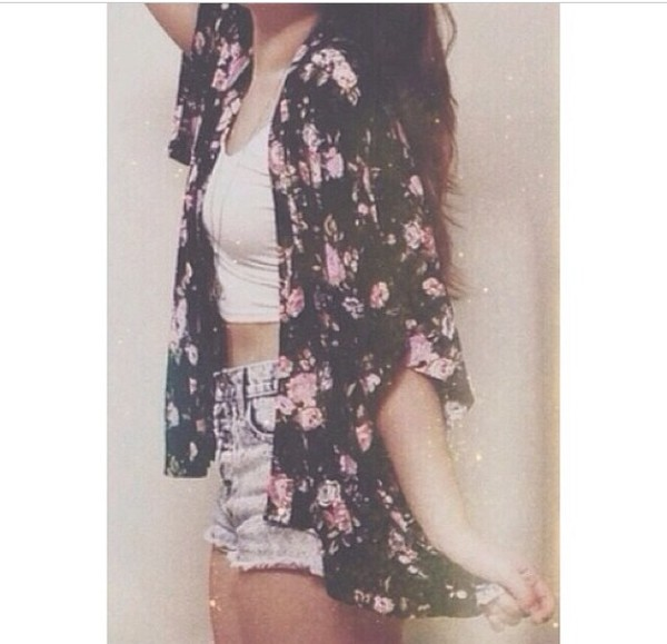 cardigan floral black and pink