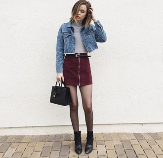 zip acacia brinley zipped skirt suede skirt mini skirt burgundy skirt dress skirt spring spring outfits edgy grunge