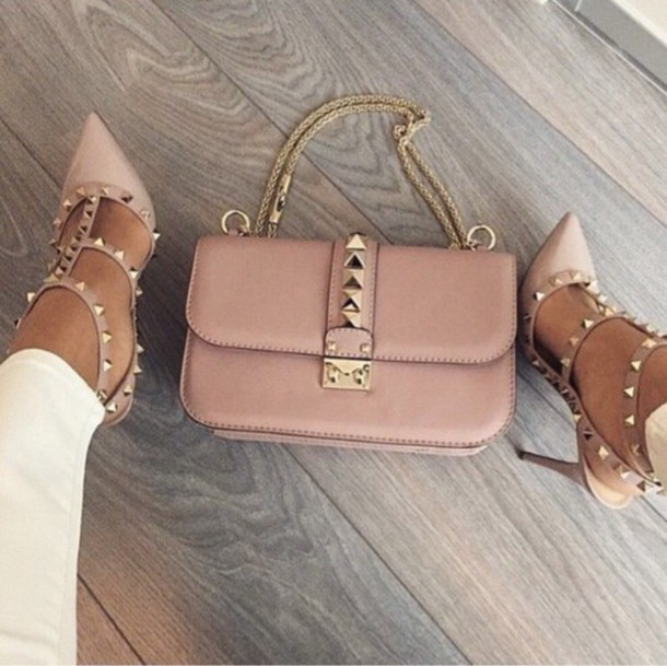 671833225 shoes nude high heels nude Valentino high heels trendy cute high heels  spikes gold sequins bag