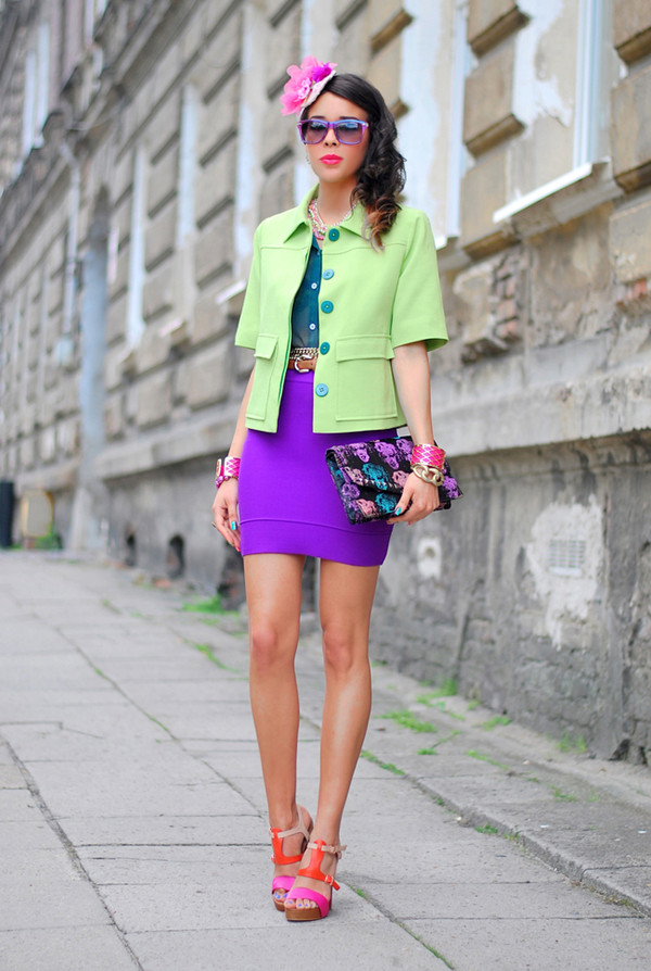 macademian girl jacket skirt t-shirt shoes bag sunglasses jewels Belt