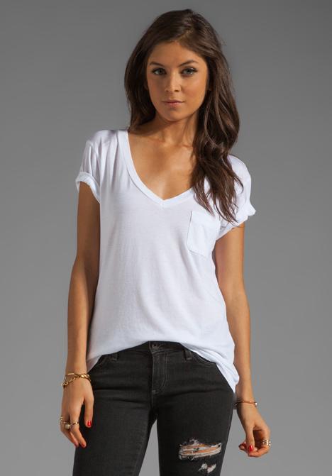 Ag adriano goldschmied pocket v neck tee in white at for Best white t shirt women s v neck