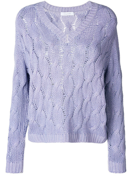 Cruciani jumper women purple knit pink sweater