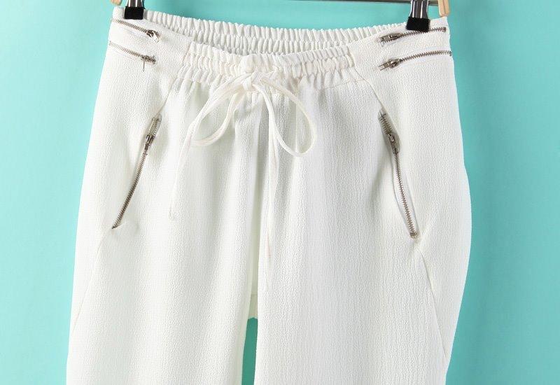Pantalón cremallera cintura elástica-blanco