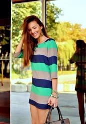 dress,tan,navy,green,stripes,striped dress,three-quarter sleeves,short dress,long sleeve dress
