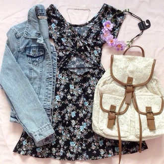 bag lace white rucksack backpack outfit tumblr indie pretty dress white backpack