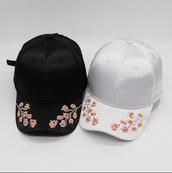 hat,floral,embroidered,black,cap