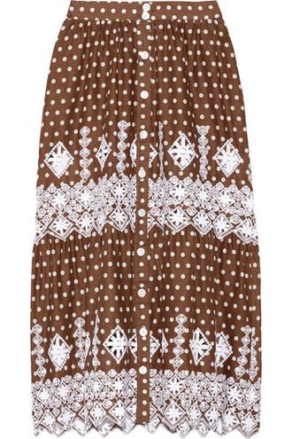 skirt midi skirt midi chocolate cotton