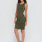 Keeping it simple tank midi dress ivory khaki olive - gojane.com
