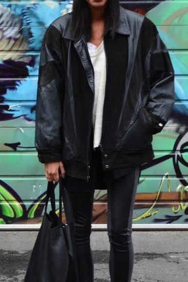 cuir jacket black black jacket aviator jacket find on tumblr