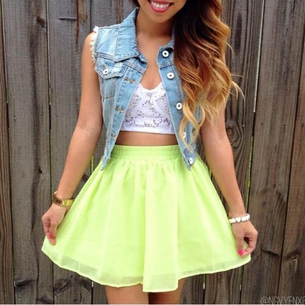 skirt green neon high waisted skirt jacket shirt