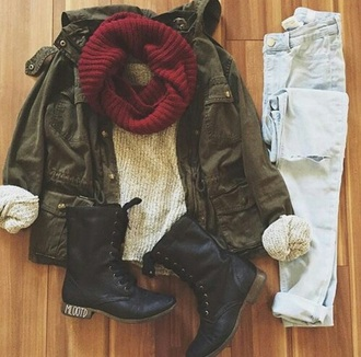 coat scarf army green jacket sweater winter outfits
