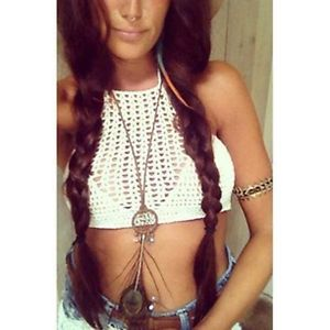 Womens Halter Crochet Swimsuit Top handmade Crop White sabo Bikini Knit Fesitval