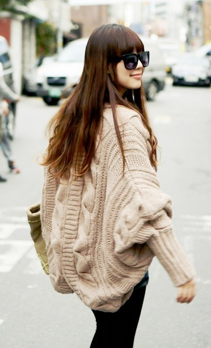 The new fall and winter clothes bat sleeve cardigan knitting needle loose shawl ladies thick coat cardigan women-in Cardigans from Apparel & Accessories on Aliexpress.com