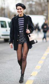 bag,chanel gabrielle hobo bag,top,chanel,chanel bag,tights,shorts,black blazer,blazer,stripes,beret,streetstyle,jacket