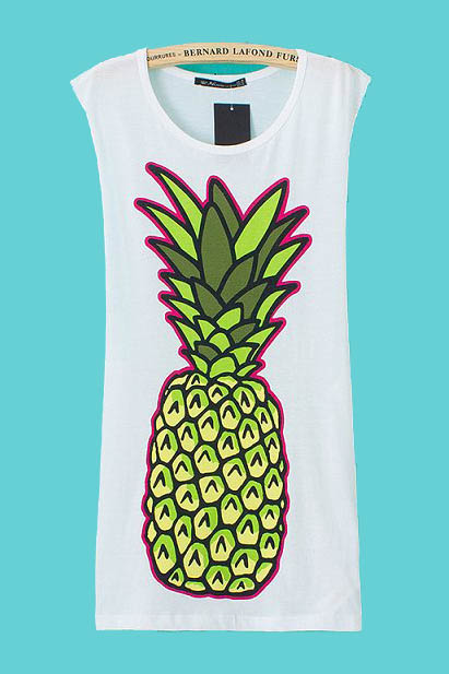 Pineapple Printing Grey Sleeveless Dress