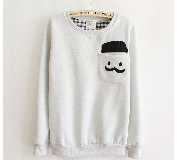 sweater mustache smiley face b&w