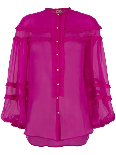 blouse sheer women silk purple pink top