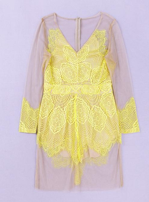 Yellow Lace Perspective Mesh Sexy Dress MX114 $139