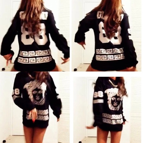 sweater black sweatshirt white versace logo versace