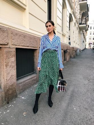 skirt blogger pattern wrap skirt stipes striped shirt pyjama shirt maxi skirt shoulder bag jw anderson bag slippers blogger style