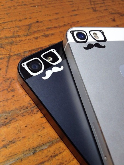 mustache black phone case glasses, mirrored, sun, aviators white iphone case