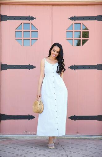 stylish petite blogger dress shoes bag jewels round bag spring outfits white dress midi dress