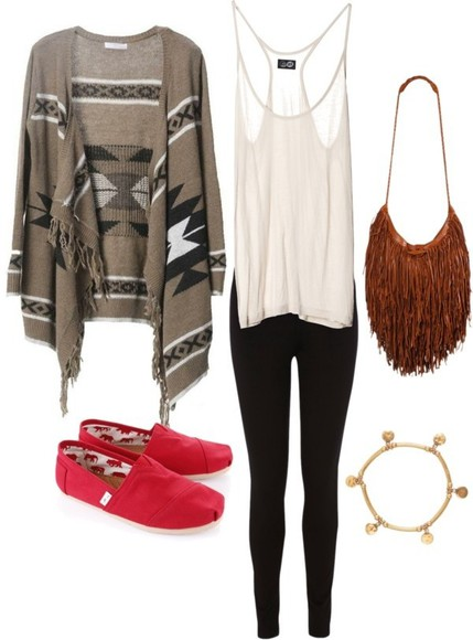 bag purse black gold fringe toms red toms charm charm bracelet aztec aztec cardigan cardigan leggings white white shirt fringe bag tank top