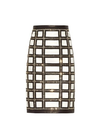 skirt leather skirt embellished leather grid white black