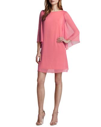 Alice   Olivia Odette Georgette Dress, Pink Icing - Neiman Marcus