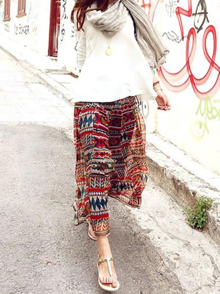 varicolored tribe printing maxi-length bohemian vintage tribal print skirt skirt