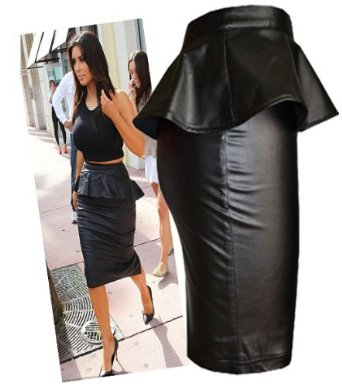 com: Womens Wet/leather Look Peplum Pencil Midi Skirt (Le): Clothing
