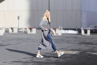 meri wild blogger grey coat adidas shoes ripped jeans coat shirt jewels bag shoes make-up