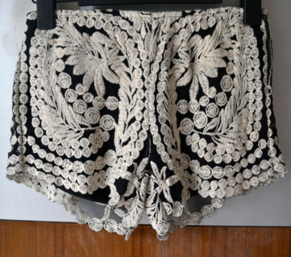 crochet lace cute shorts boho gypsy fashion festival vintage black