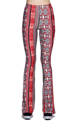 Raga Floral Red Floral Print Bell Bottom Pants | Sweetrebelboutique.com