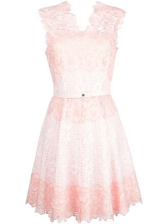 dress scalloped lace purple pink