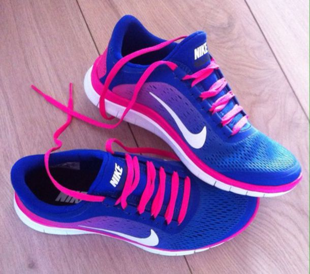 nike free runs blue and pink