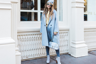 not jess fashion blogger sweater coat hat jeans shoes bag sunglasses beanie blue coat chanel bag chanel ankle boots
