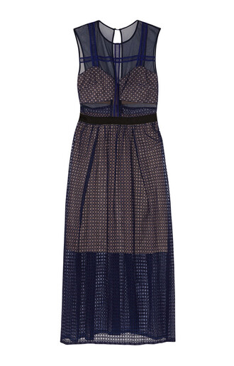 dress self portrait lace dress midi dress blue dress wedding clothes mesh dress mesh