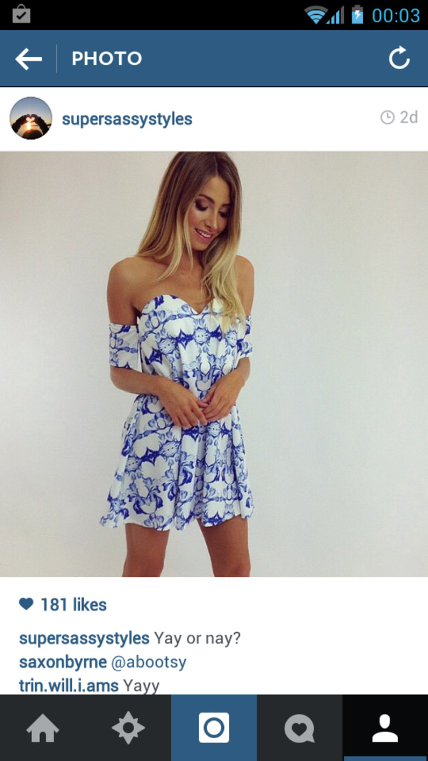 white dress blue printed dress summer dress drop shoulder