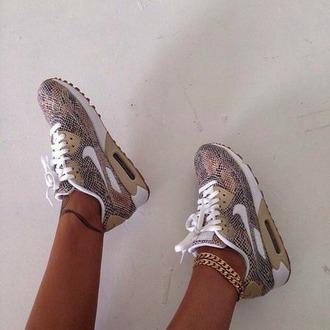 shoes nike nike running shoes nike shoes nike air brown sneakers snake print snakeskin sneakers tan air max nike air max 90