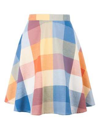skirt plaid skirt multicolor flare skirt