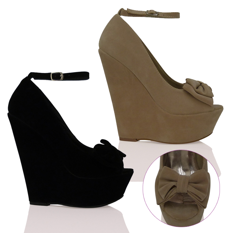 New Womens Ladies High Heel Wedge Platfrom Ankle Strap Style Peep Toe Shoes Size   eBay