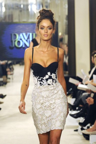 runway dress white dress dark blue