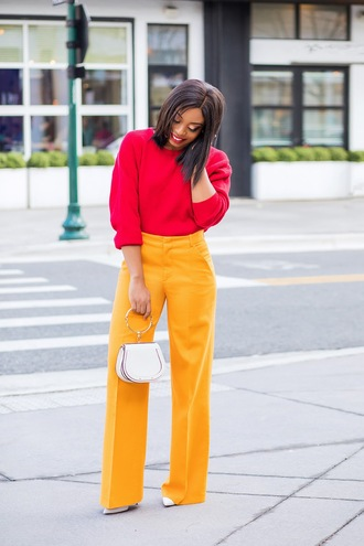 jadore-fashion blogger pants sweater shoes bag pink sweater yellow pants spring outfits