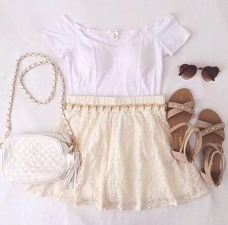 skirt light brown sandals off white skirt sooooo cute cuteeee white tank top cute purse heart sunglasses gold jewelry gold spikes bag shoes sunglasses shirt