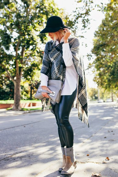 blogger bag sunglasses fall outfits devon rachel checkered leather pants