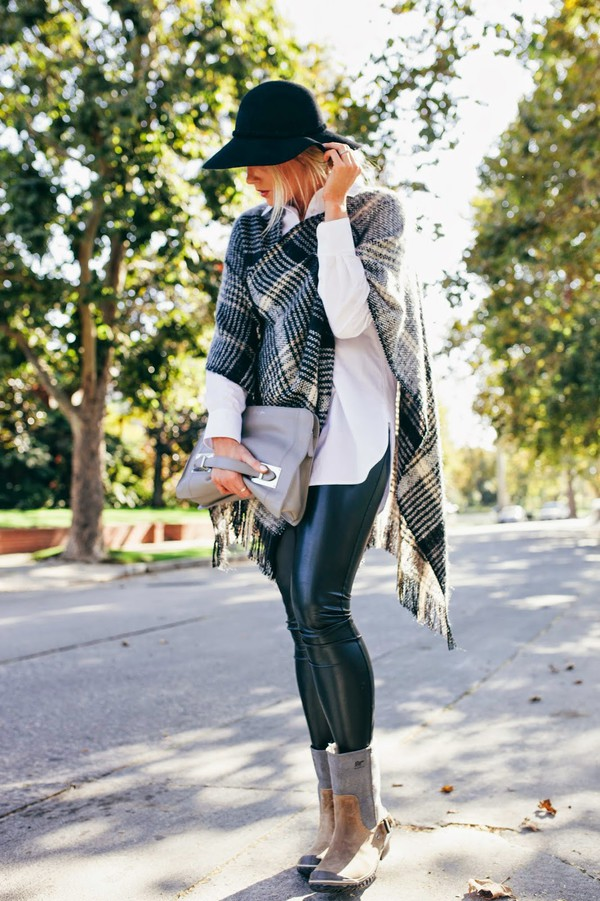 devon rachel blogger bag sunglasses checkered leather pants fall outfits
