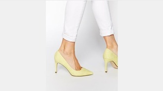shoes yellow shoes lemongrass pointed toe mid heel pumps pointed toe pumps